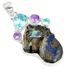 Natural brown boulder opal amethyst 925 sterling silver pendant m66001
