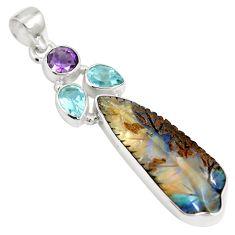 Natural brown boulder opal amethyst 925 sterling silver pendant m66003
