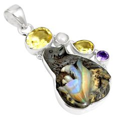 Natural brown boulder opal amethyst 925 sterling silver pendant m66006