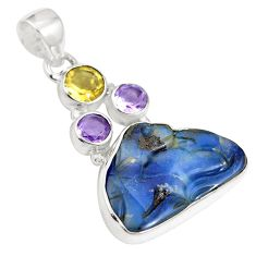Natural brown boulder opal amethyst 925 sterling silver pendant m66009