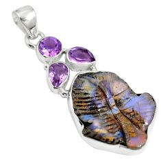Natural brown boulder opal amethyst 925 sterling silver pendant m66015