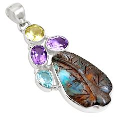 Natural brown boulder opal amethyst 925 sterling silver pendant m66018