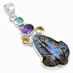925 sterling silver natural brown boulder opal amethyst pendant m66020