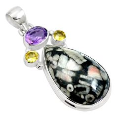 925 silver natural black crinoid fossil purple amethyst pendant m66056