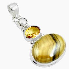 925 silver natural yellow schalenblende polen citrine pendant jewelry m66064