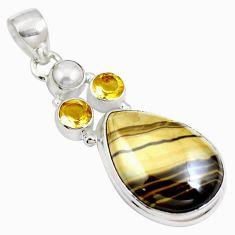 Natural yellow schalenblende polen citrine 925 silver pendant m66067