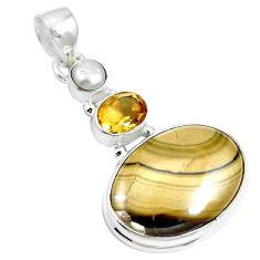 Natural yellow schalenblende polen citrine 925 silver pendant m66068
