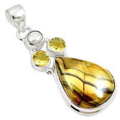 Natural yellow schalenblende polen citrine 925 silver pendant m66070
