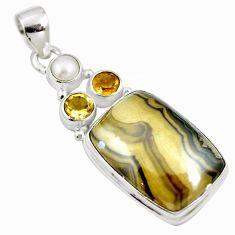Natural yellow schalenblende polen citrine 925 silver pendant m66073