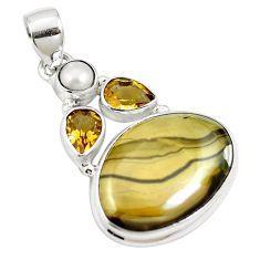 Natural yellow schalenblende polen citrine 925 silver pendant m66080