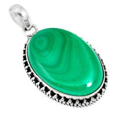 Natural green malachite (pilot's stone) 925 sterling silver pendant m66408