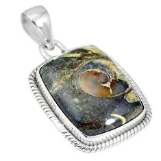 Natural brown colus fossil 925 sterling silver pendant jewelry m66582