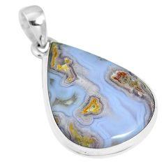 Natural white agua nueva agate 925 sterling silver pendant jewelry m66587