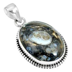 Natural brown colus fossil 925 sterling silver pendant jewelry m66593