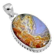 Natural white agua nueva agate 925 sterling silver pendant m66601