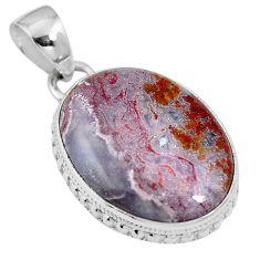 Natural white agua nueva agate 925 sterling silver pendant jewelry m66607