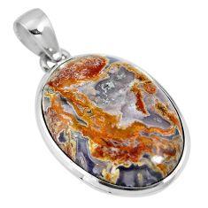 Natural white agua nueva agate 925 sterling silver pendant jewelry m66609