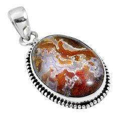 Natural white agua nueva agate 925 sterling silver pendant jewelry m66613