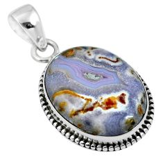 Natural white agua nueva agate 925 sterling silver pendant jewelry m66619