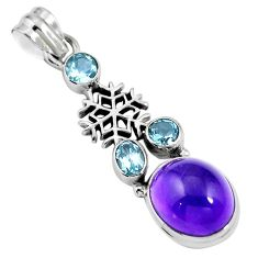 Natural purple amethyst topaz 925 sterling silver pendant jewelry m66693