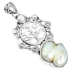 Natural white biwa pearl pearl 925 sterling silver tree of life pendant m66850