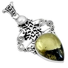 Golden pyrite in magnetite (healer's gold) 925 silver snowflake pendant m66933
