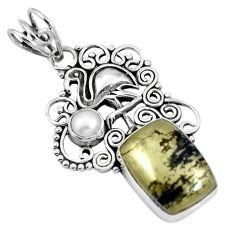 925 silver natural golden pyrite in magnetite flamingo charm pendant m66934