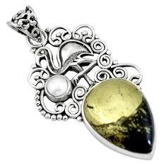 Natural golden pyrite in magnetite 925 silver flamingo charm pendant m66938