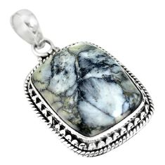 Natural white pinolith 925 sterling silver pendant jewelry m66970