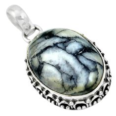 Natural black pinolith 925 sterling silver pendant jewelry m66999