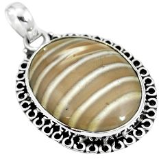 925 sterling silver natural grey striped flint ohio pendant jewelry m67179