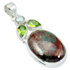 925 sterling silver natural green grass garnet peridot pendant jewelry m67183