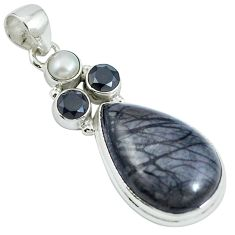 Natural black picasso jasper onyx pearl 925 sterling silver pendant m67222