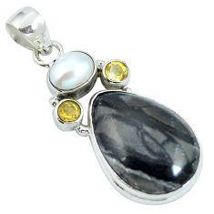 925 sterling silver natural black picasso jasper citrine pearl pendant m67224