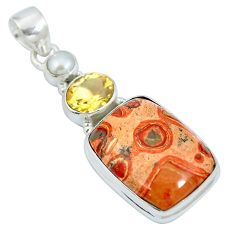 Natural red birds eye citrine 925 sterling silver pendant m67258
