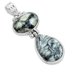 925 sterling silver natural black pinolith pendant jewelry m68544
