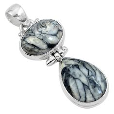 Natural black pinolith 925 sterling silver pendant jewelry m68545