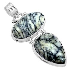 Natural black pinolith 925 sterling silver pendant jewelry m68546