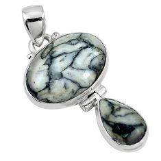 Natural black pinolith 925 sterling silver pendant jewelry m68549