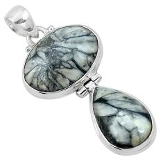 Natural black pinolith 925 sterling silver pendant jewelry m68566