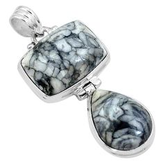 Natural black pinolith 925 sterling silver pendant jewelry m68567