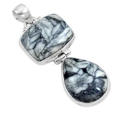 Natural black pinolith 925 sterling silver pendant jewelry m68569