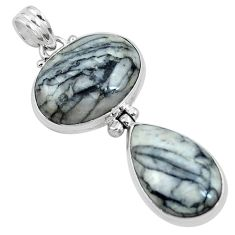925 sterling silver natural black pinolith pendant jewelry m68576