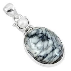 Natural white pinolith pearl 925 sterling silver pendant jewelry m68589