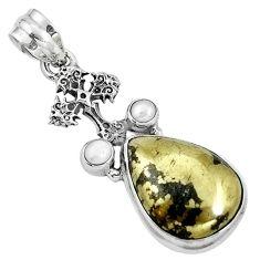 Golden pyrite in magnetite (healer's gold) 925 silver cross pendant m69212