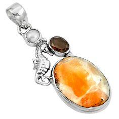 Natural orange calcite smoky topaz 925 silver seahorse pendant m69226