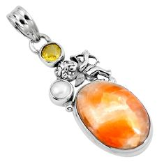 Natural orange calcite 925 silver cupid angel wings pendant m69230