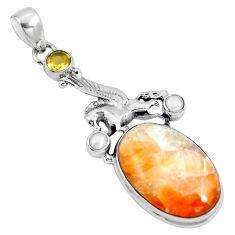 Natural orange calcite citrine pearl 925 silver unicorn pendant m69235