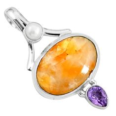 Natural orange calcite amethyst 925 sterling silver pendant m69238