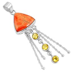 18.99cts natural red sponge coral citrine 925 sterling silver pendant m69241